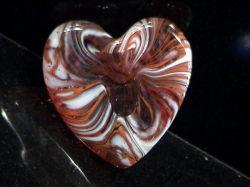 Glass Swirl Heart Orange and White