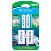 Sanyo eneloop 2-AA 1500 cycle Batteries with 'C' Spacer (old Stock)