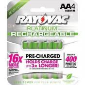 Rayovac PLATINUM Low Discharge NiMH Carded AA 4-Pack (old stock)